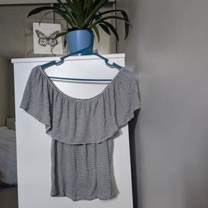 3/$25 Stripped, cold shoulder ruffled shirt